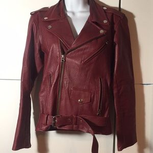 Ark reworked vintage leather motorcycle jacket red
